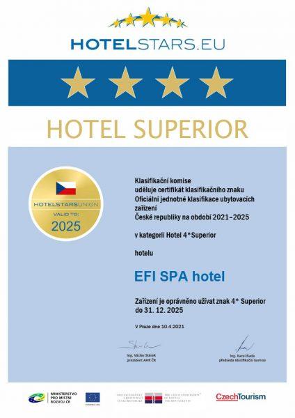 Oficiální certifikát EFI SPA Hotelu**** Superior